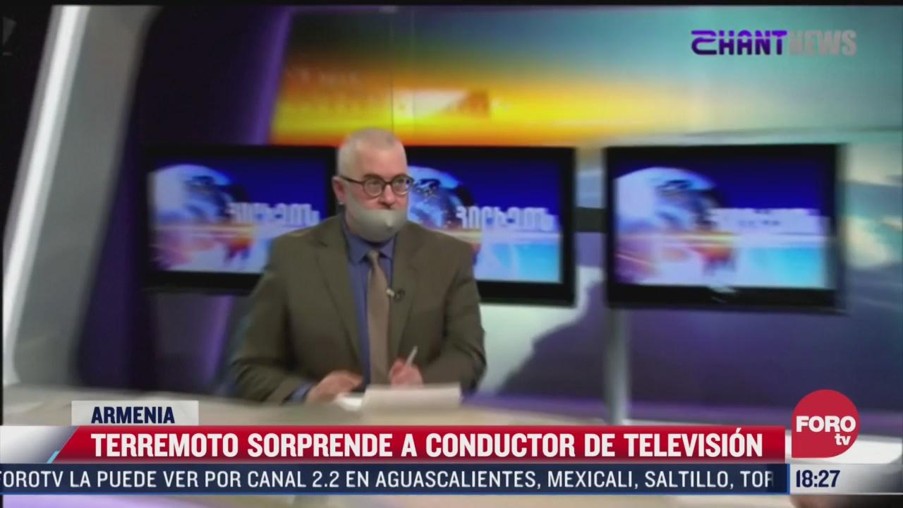 terremoto sorprende a conductor de television en armenia