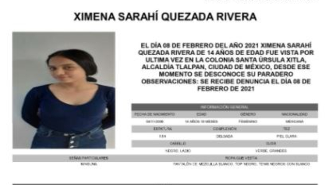 Activan Alerta Amber para localizar a Ximena Sarahí Quezada Rivera