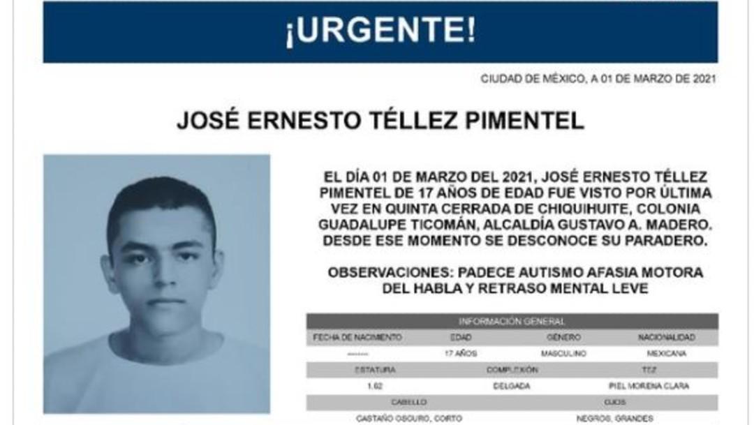 Activan Alerta Amber para localizar a José Ernesto Téllez Pimentel