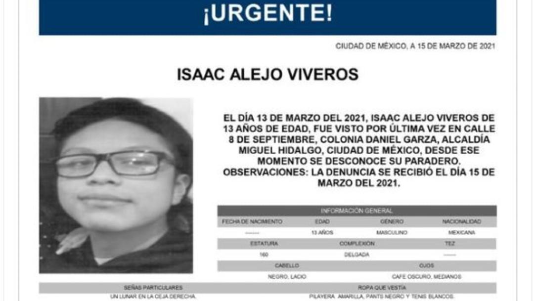 Activan Alerta Amber para localizar a Isaac Alejo Viveros