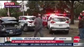 al menos 10 lesionados tras choque multiple en lomas de chapultepec