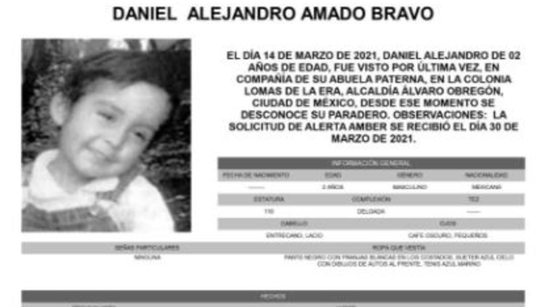 Activan Alerta Amber para localizar a Daniel Alejandro Amado Bravo
