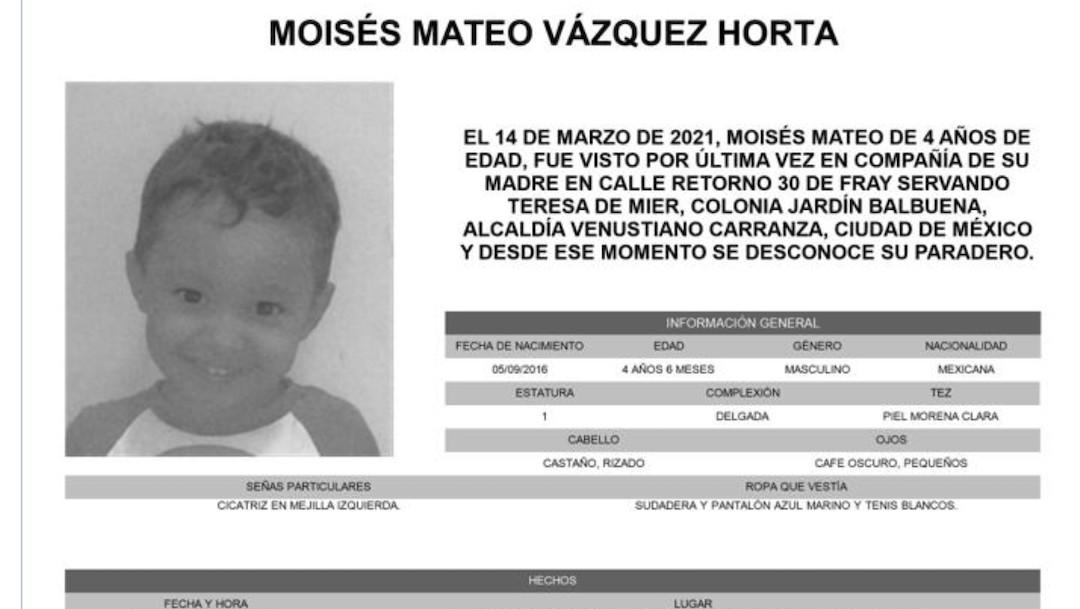 Moisés Mateo Vázquez Horta, tiene 4 años y desapreció el 14 de marzo de 2021 (Twitter: @FiscaliaCDMX)