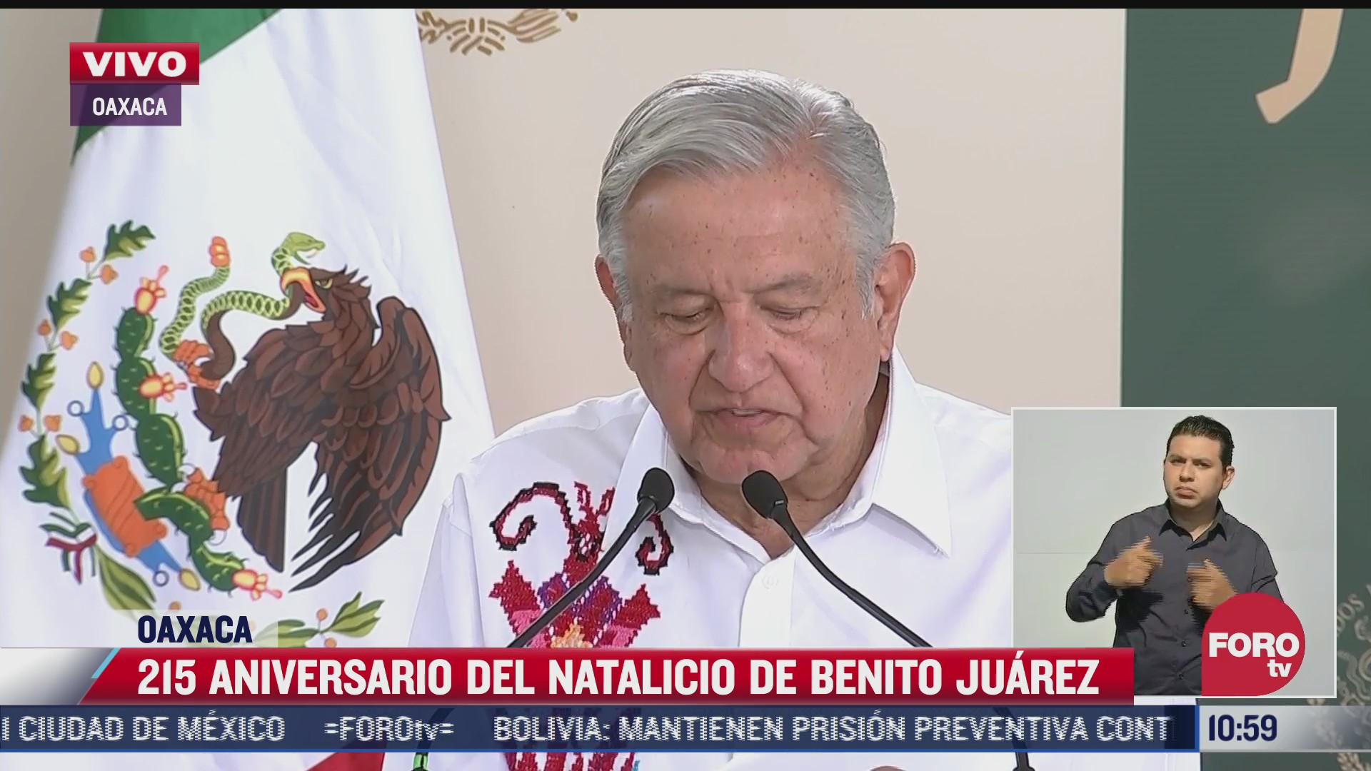 amlo encabeza ceremonia por 215 aniversario del natalicio de benito juarez