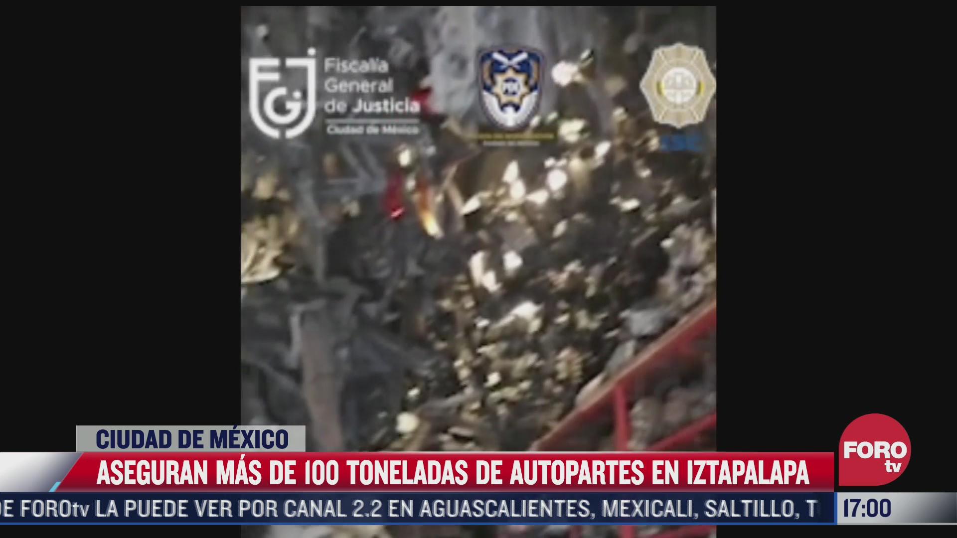 aseguran mas de 100 toneladas de autopartes en iztapalapa