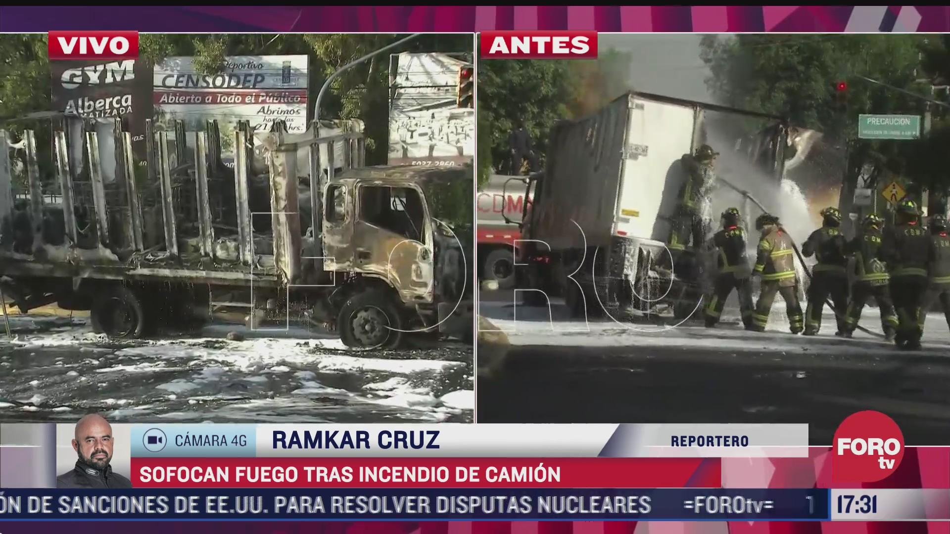 bomberos sofocan incendio en camion en la alcaldia coyoacan