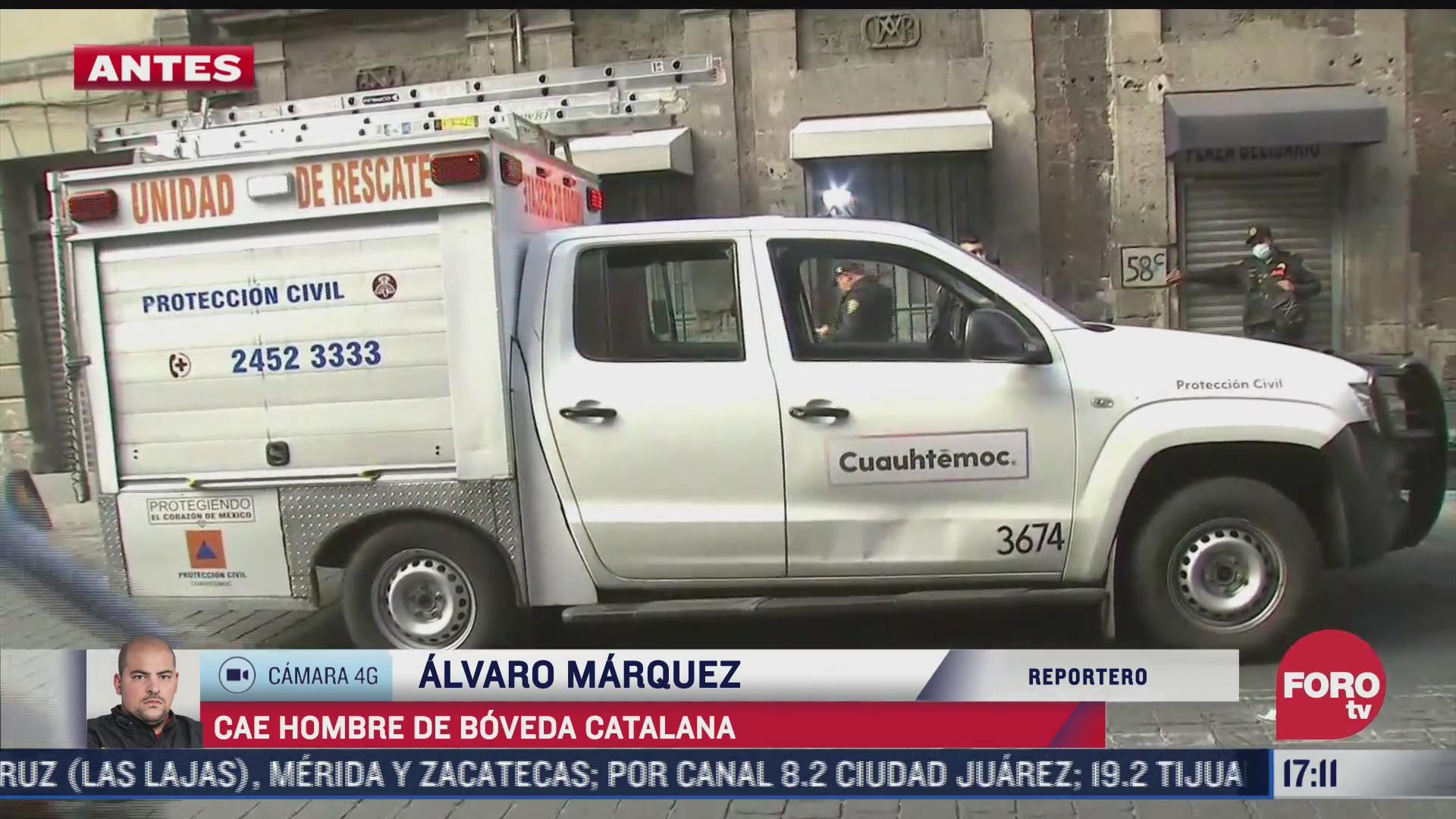 cae hombre de boveda catalana en el centro historico de la cdmx