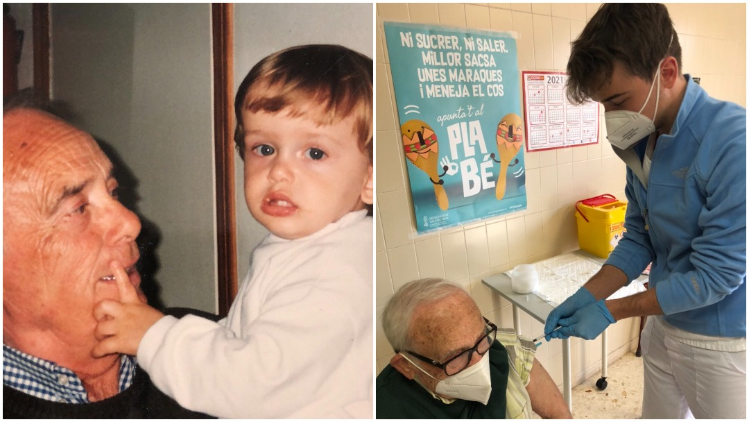 Enfermero de España aplica vacuna contra covid a su abuelo y se viraliza en redes sociales