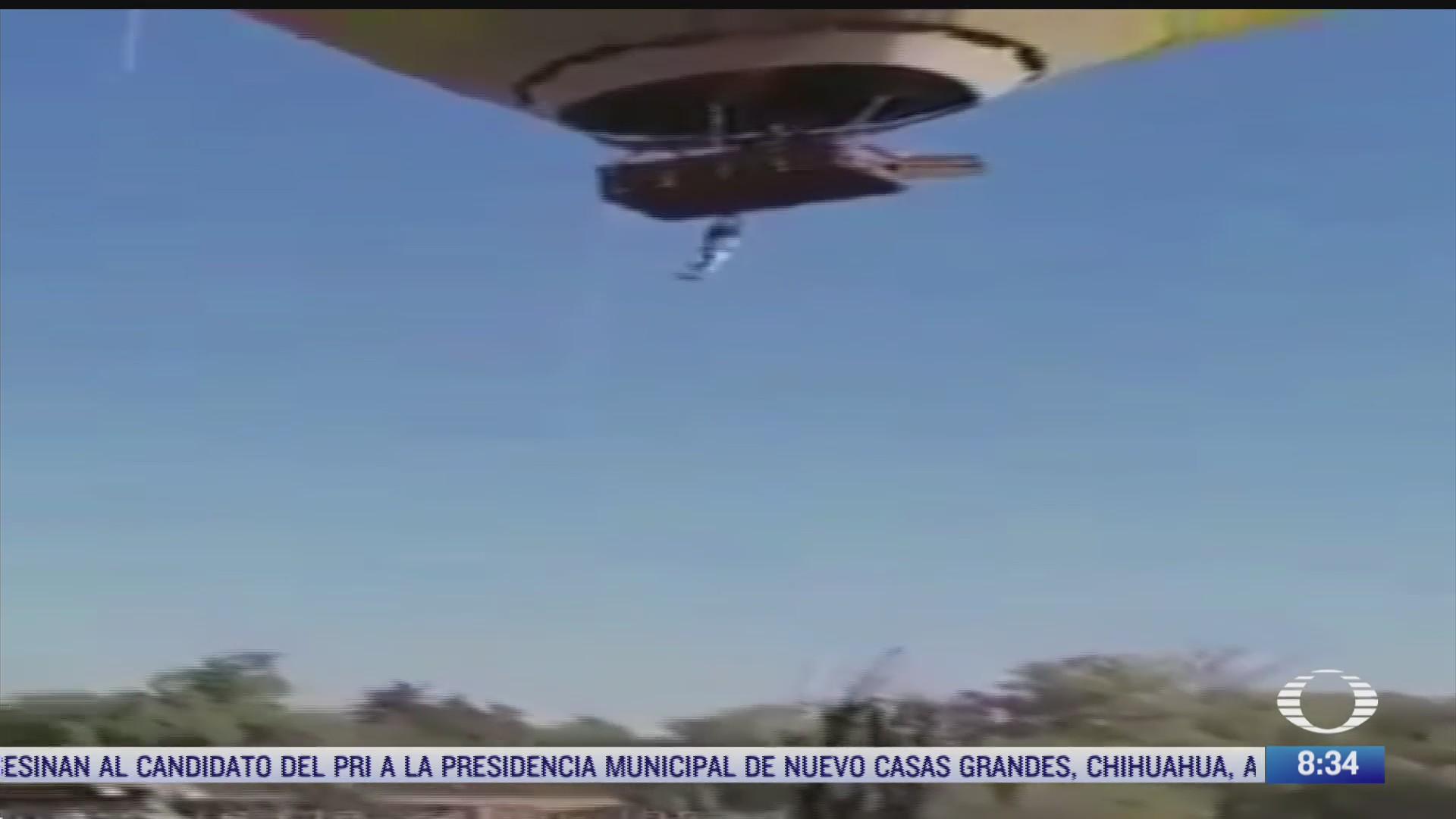 hombre a punto de caer de globo aerostatico en teotihuacan