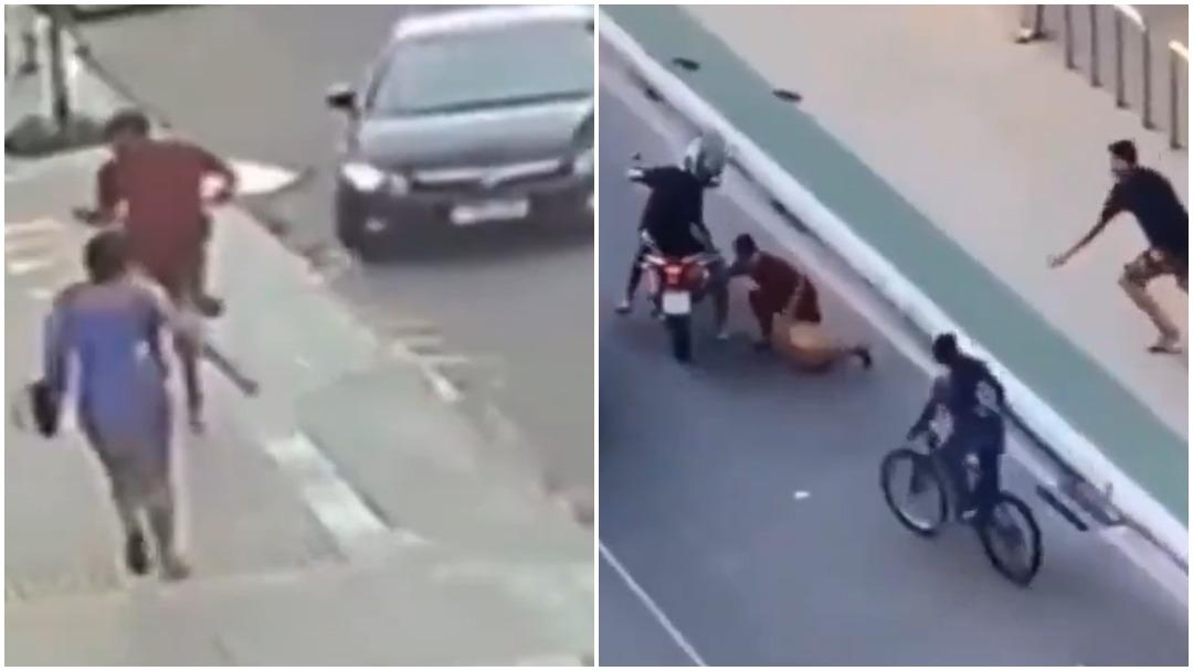 Ladrón es atropellado, perseguido y golpeado tras robarle celular a joven en Brasil