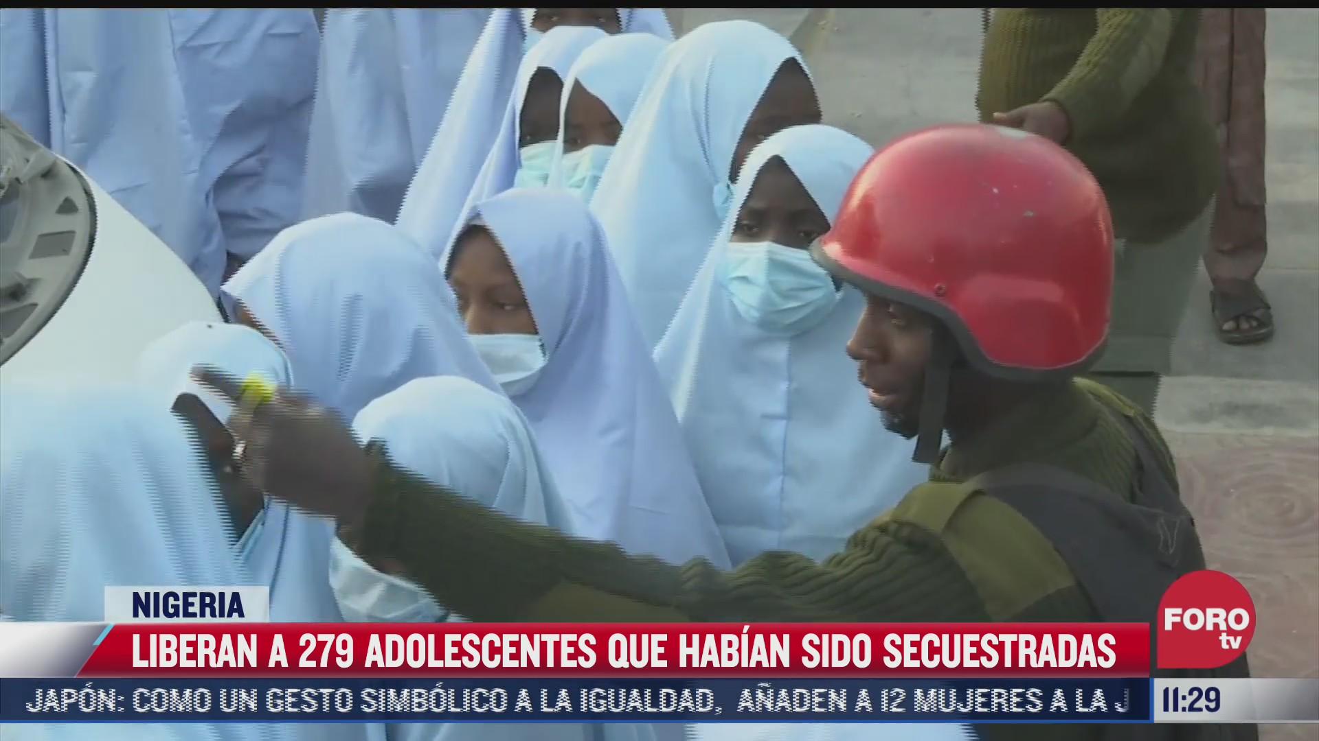liberan a 279 adolescentes que habian sido secuestradas en nigeria