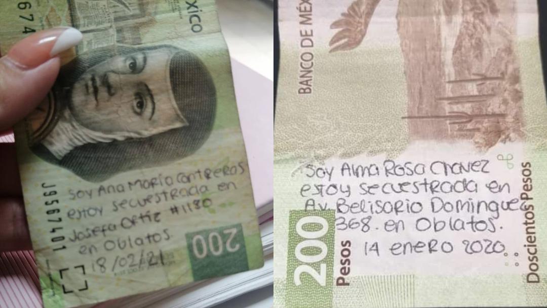 Encuentran billetes con mensaje de auxilio por presunto secuestro en Guadalajara