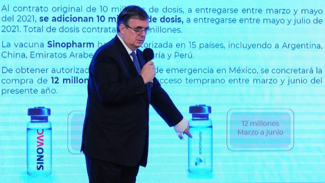 Marcelo Ebrard durante la conferencia de prensa de Andrés Manuel López Obrador.