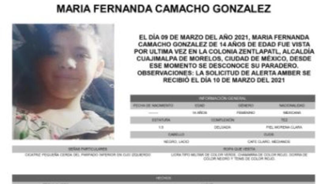Activan Alerta Amber para localizar a María Fernanda Camacho González