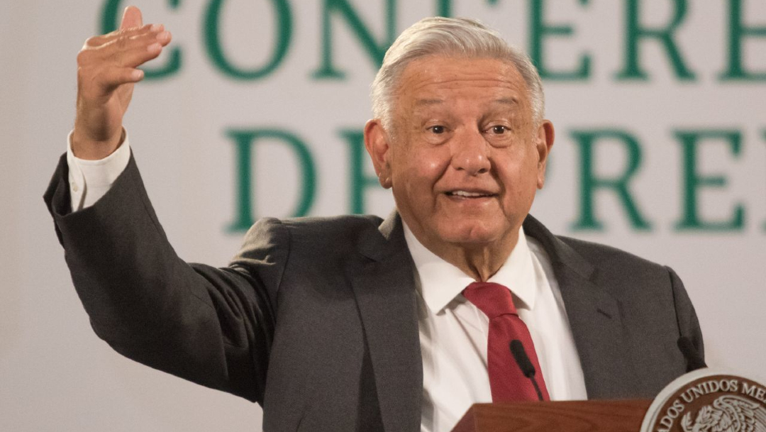 El presidente Andrés Manuel López Obrador en la conferencia de prensa matutina en Palacio Nacional
