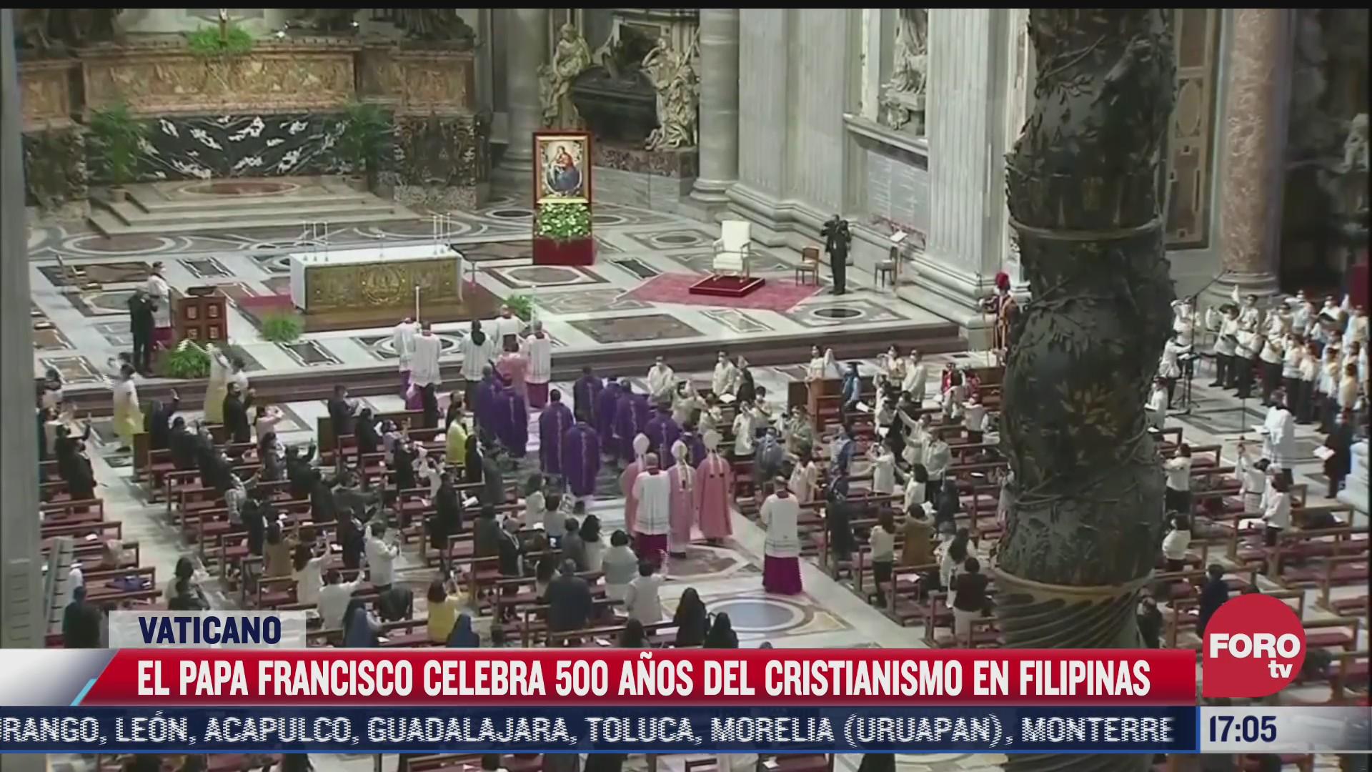 papa francisco celebra 500 anos de catolicismo en filipinas