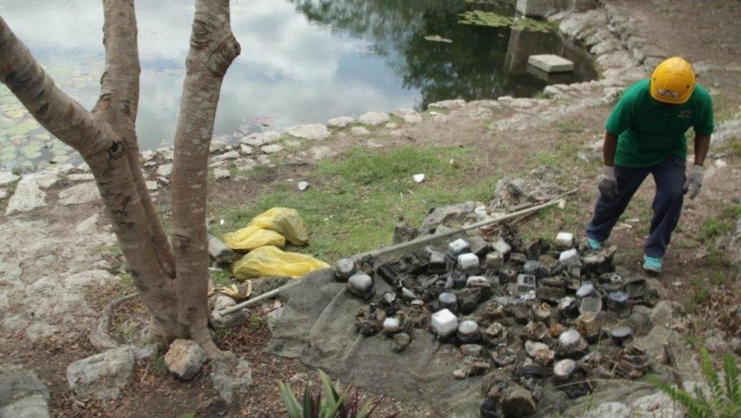 Por segunda ocasión, extraen medidores de luz dentro de cenote en Yucatán