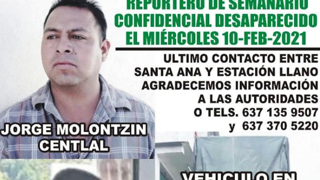 Desaparición del reportero Jorge Molontzín Centlal, del semanario Confidencial (Twitter: @jahootsen)