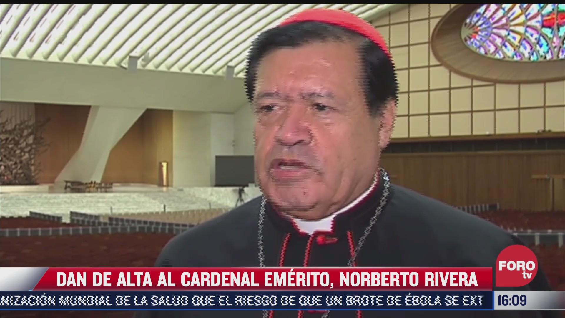 sale del hospital el cardenal norberto rivera tras contagio de covid