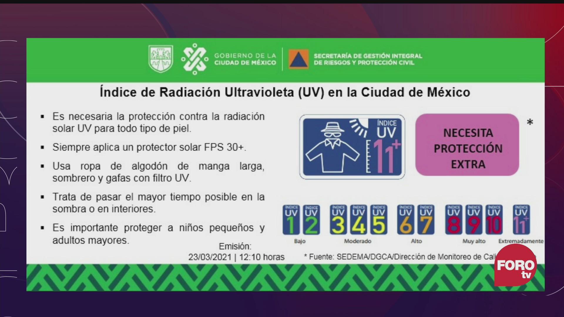 se registran altos indices de radiacion uv en el valle de mexico