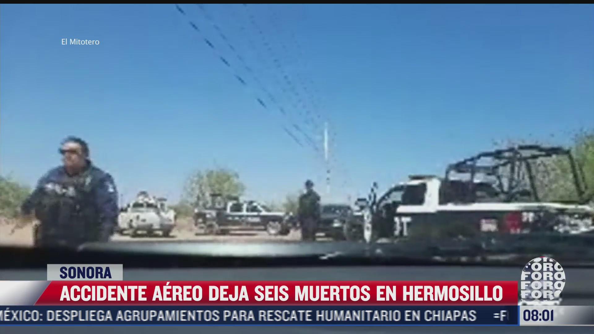 seis muertos y un herido por desplome de avioneta en hermosillo sonora