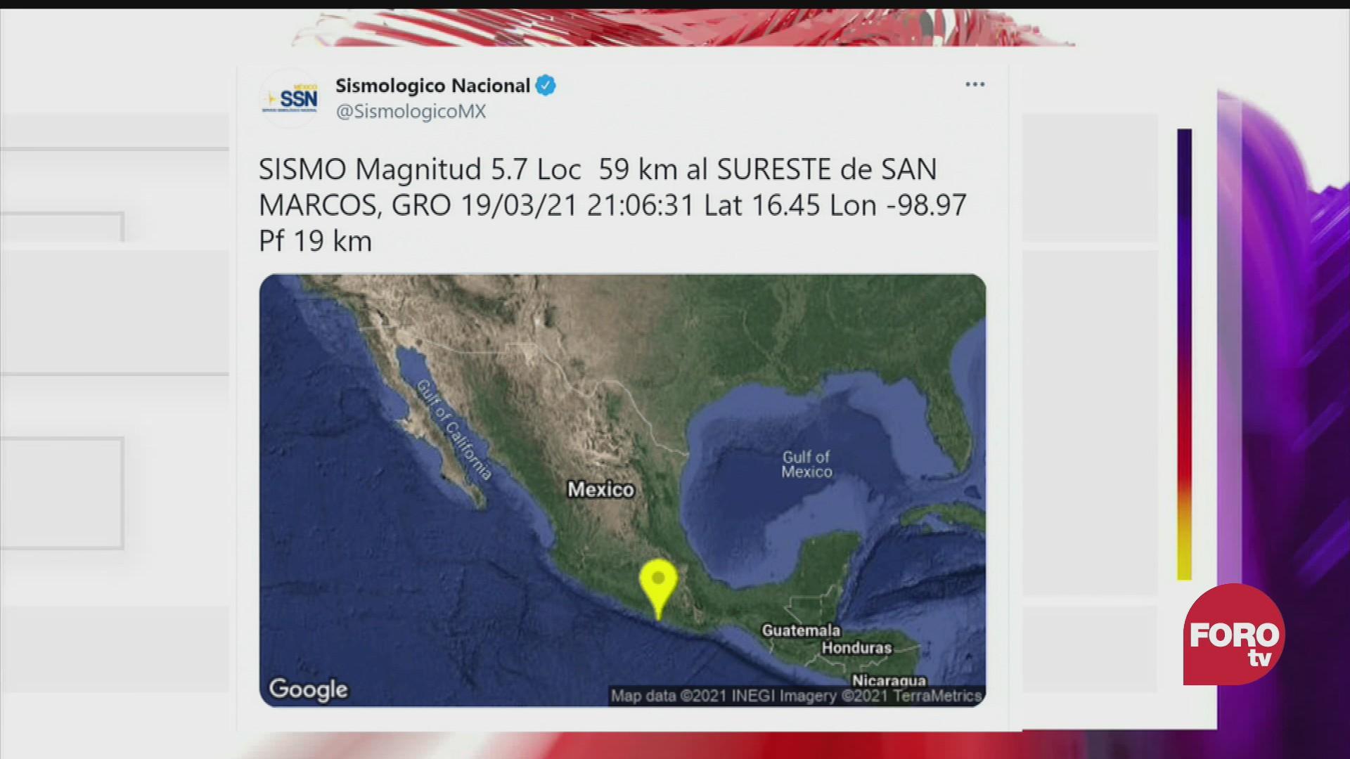 sismo de este 19 de marzo fue de magnitud