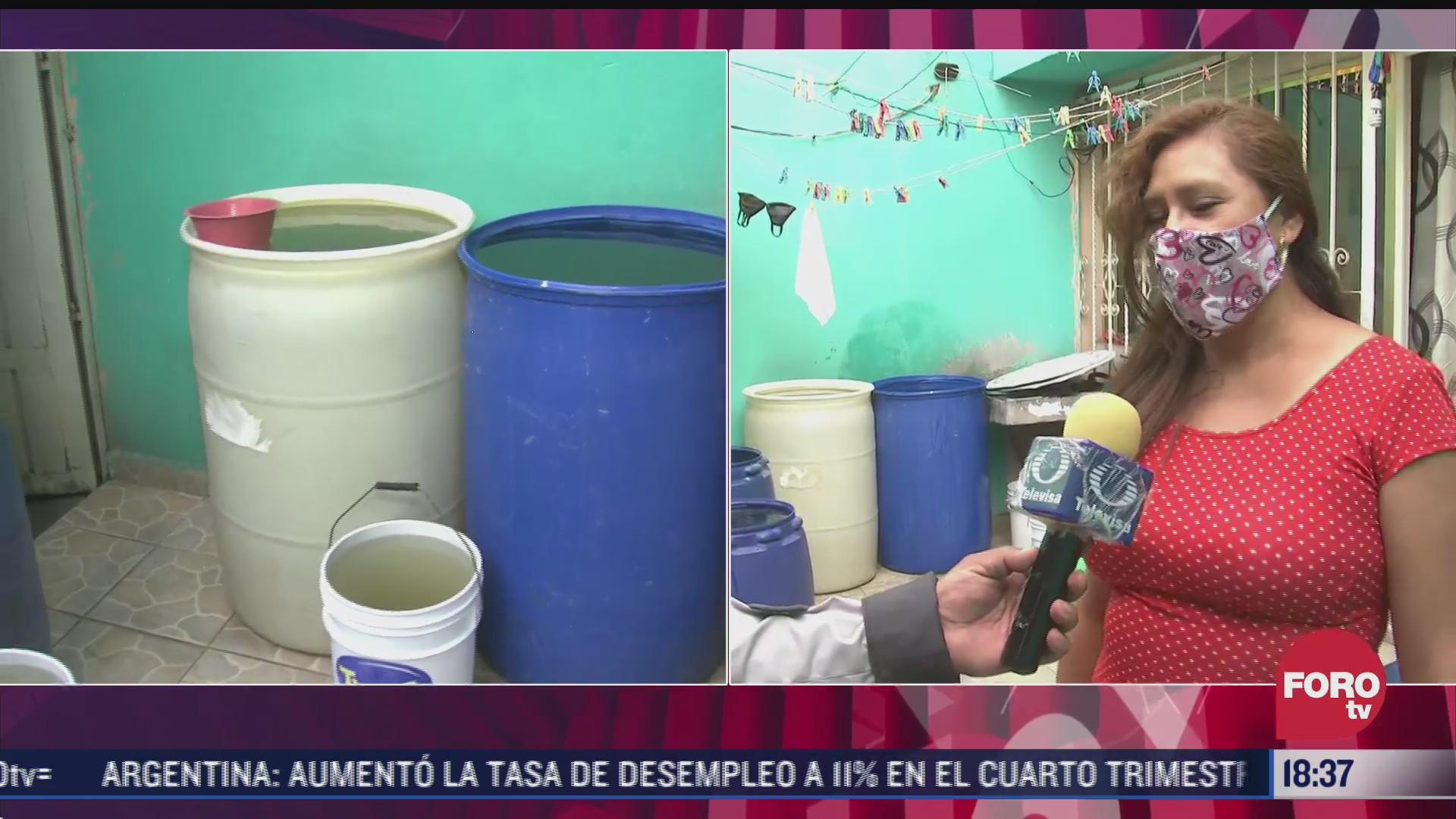 vecinos de la colonia desarrollo urbano quetzalcoatl resienten disminucion del suministro de agua