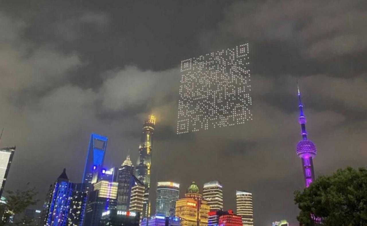 En China usan drones para dibujar un código QR en el cielo