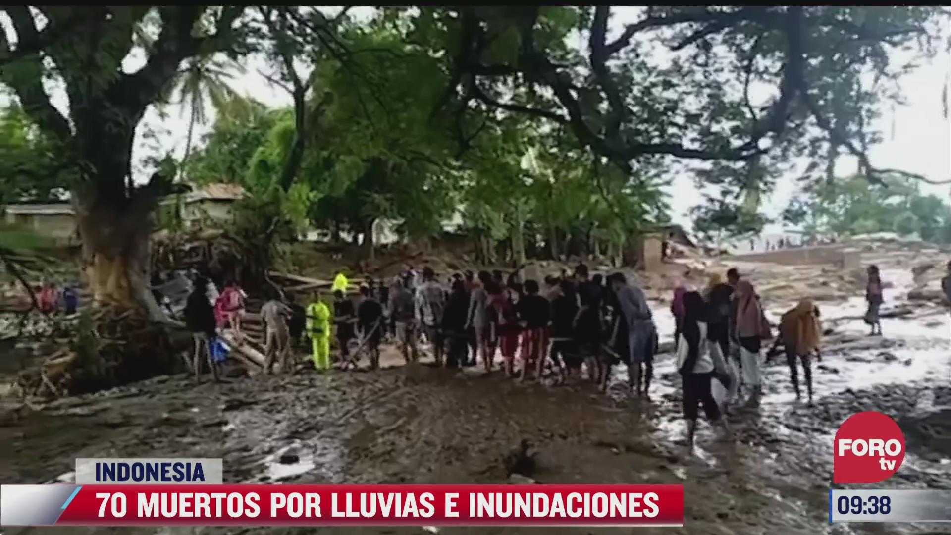 a menos 70 muertos por lluvias e inundaciones en indonesia