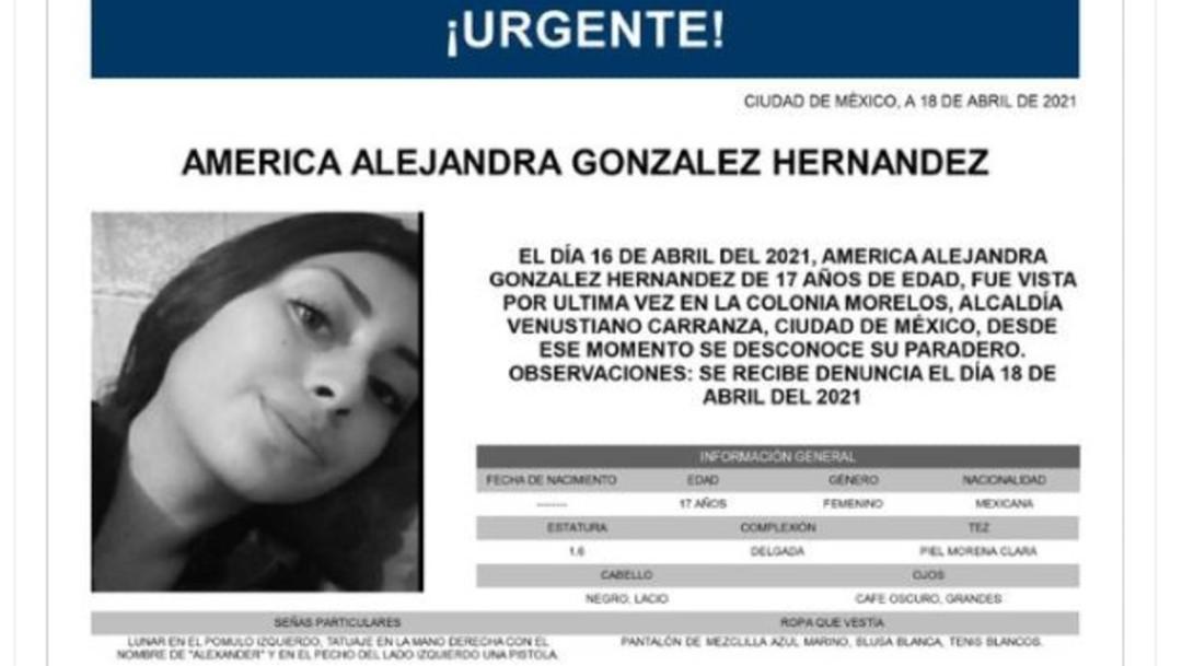 Activan Alerta Amber para América Alejandra González Hernández