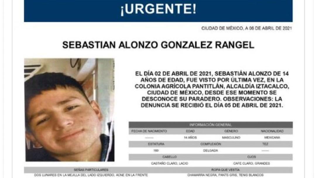 Activan Alerta Amber para localizar a Sebastián Alonzo González Rangel