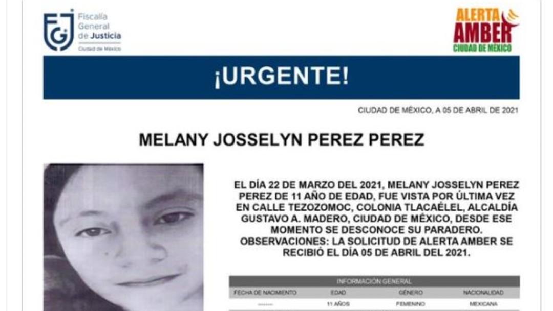 Activan Alerta Amber para localizar a Melany Josselyn Pérez Pérez