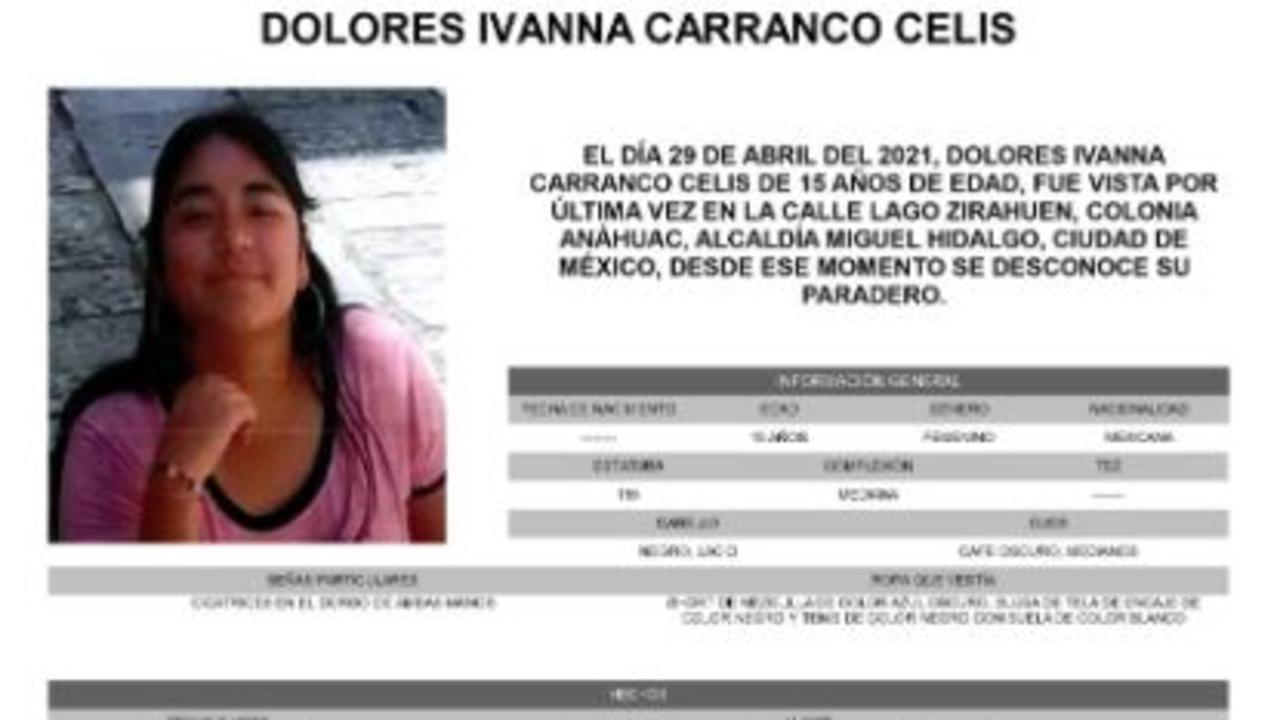 Activan Alerta Amber para localizar a Dolores Ivanna Carranco Celis