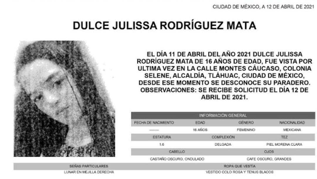 Dulce Julissa Rodríguez Mata, fue vista por última vez 11 de abril del 2021 en colonia Selene, Tláhuac (Twitter: @FiscaliaCDMX)