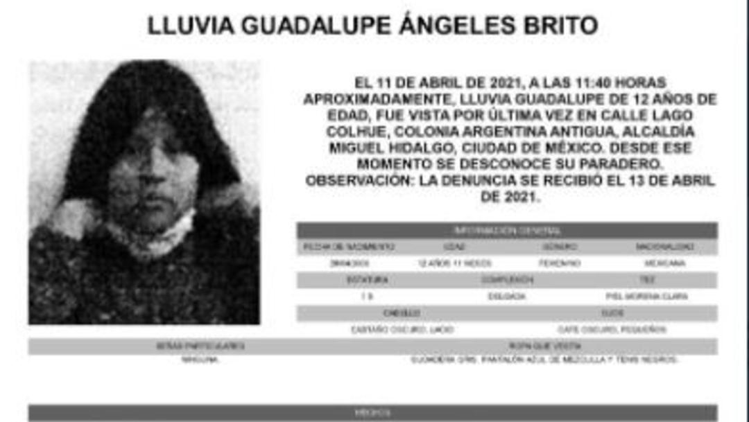 Activan Alerta Amber para localizar a Lluvia Guadalupe Ángeles Brito