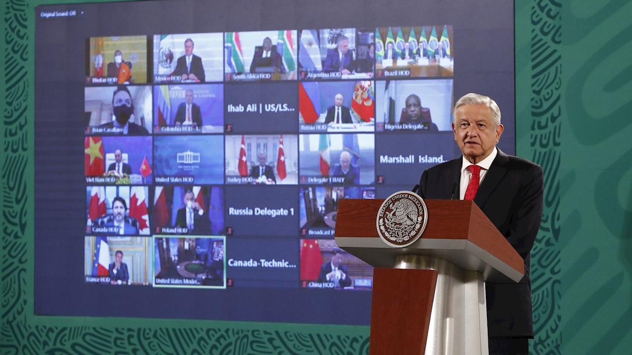 El presidente Andrés Manuel López Obrador durante su intervención virtual en la cumbre climática