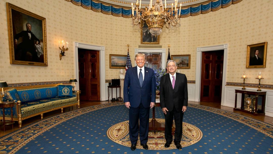 El presidente Andrés Manuel López Obrador en su reunión con Donald Trump en la Casa Blanca