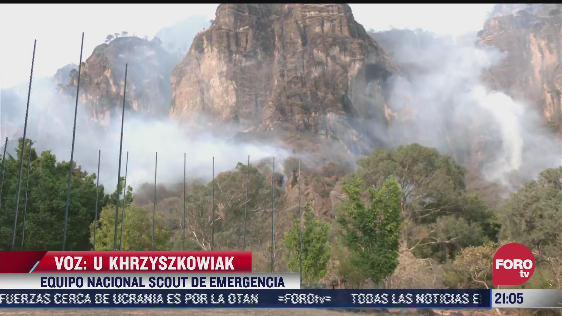 brigadistas trabajan en sofocar incendio forestal en tepoztlan