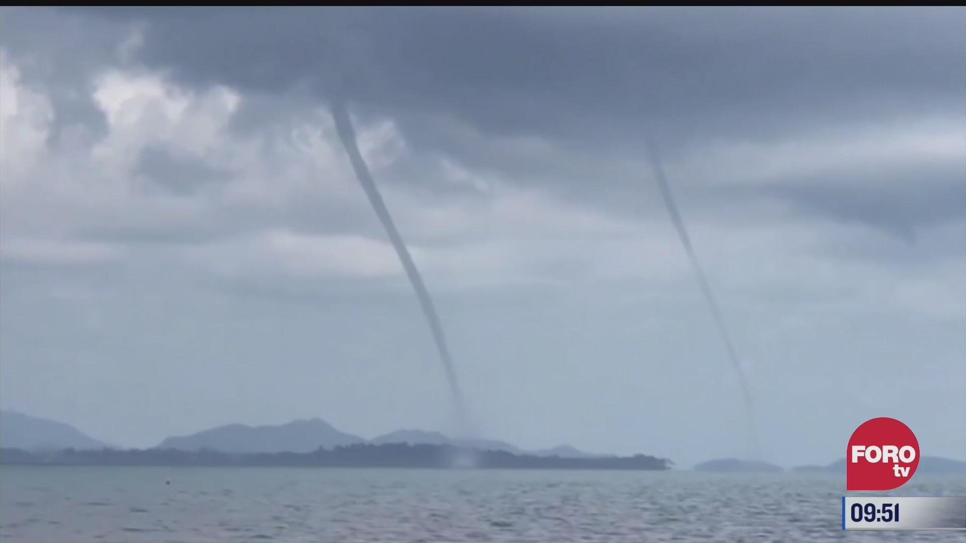 captan dos trombas marinas cerca de la isla koh mak