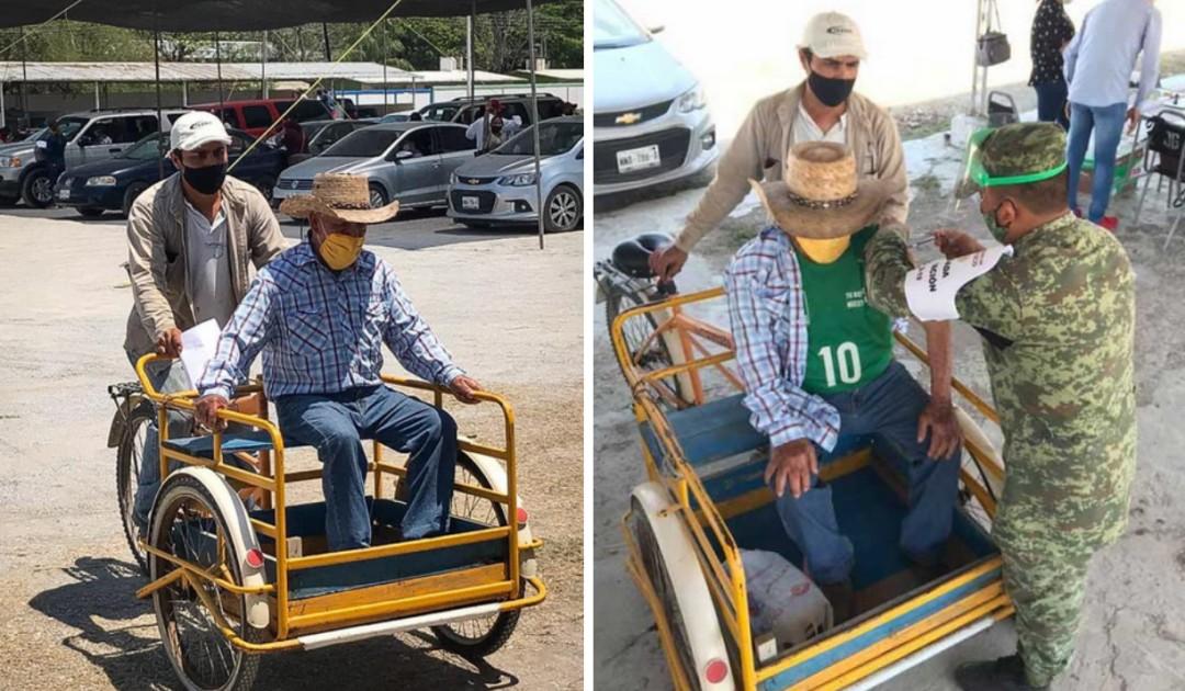 En Tamaulipas, llevan a abuelito a la vacuna en triciclo