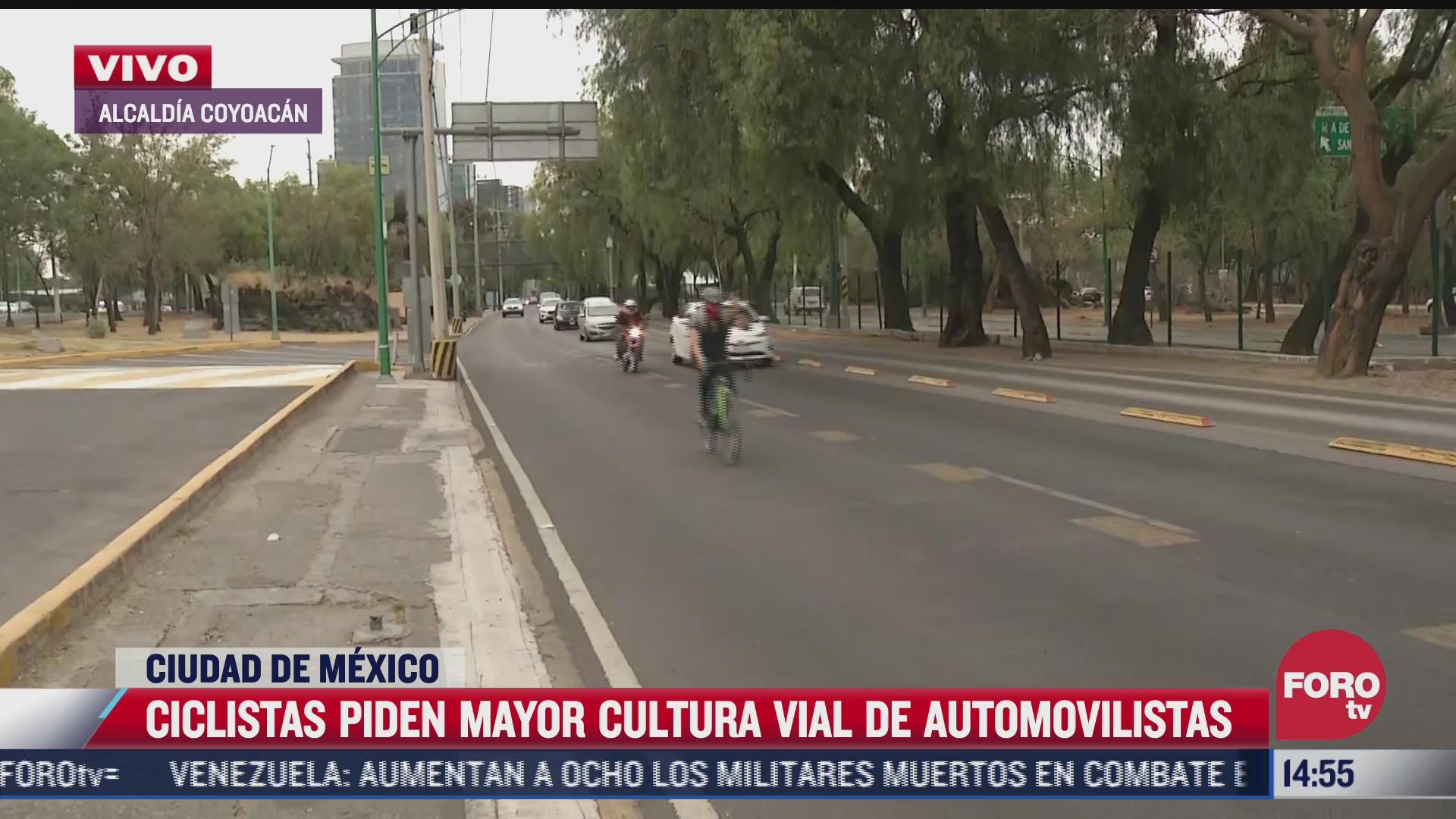 ciclistas piden mayor cultura vial de automovilistas en cdmx