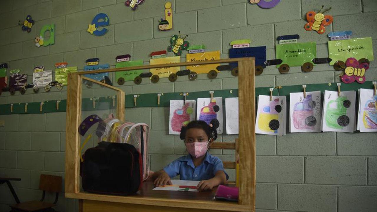 COVID-19 Padre construye pupitre proteger hija regreso clase