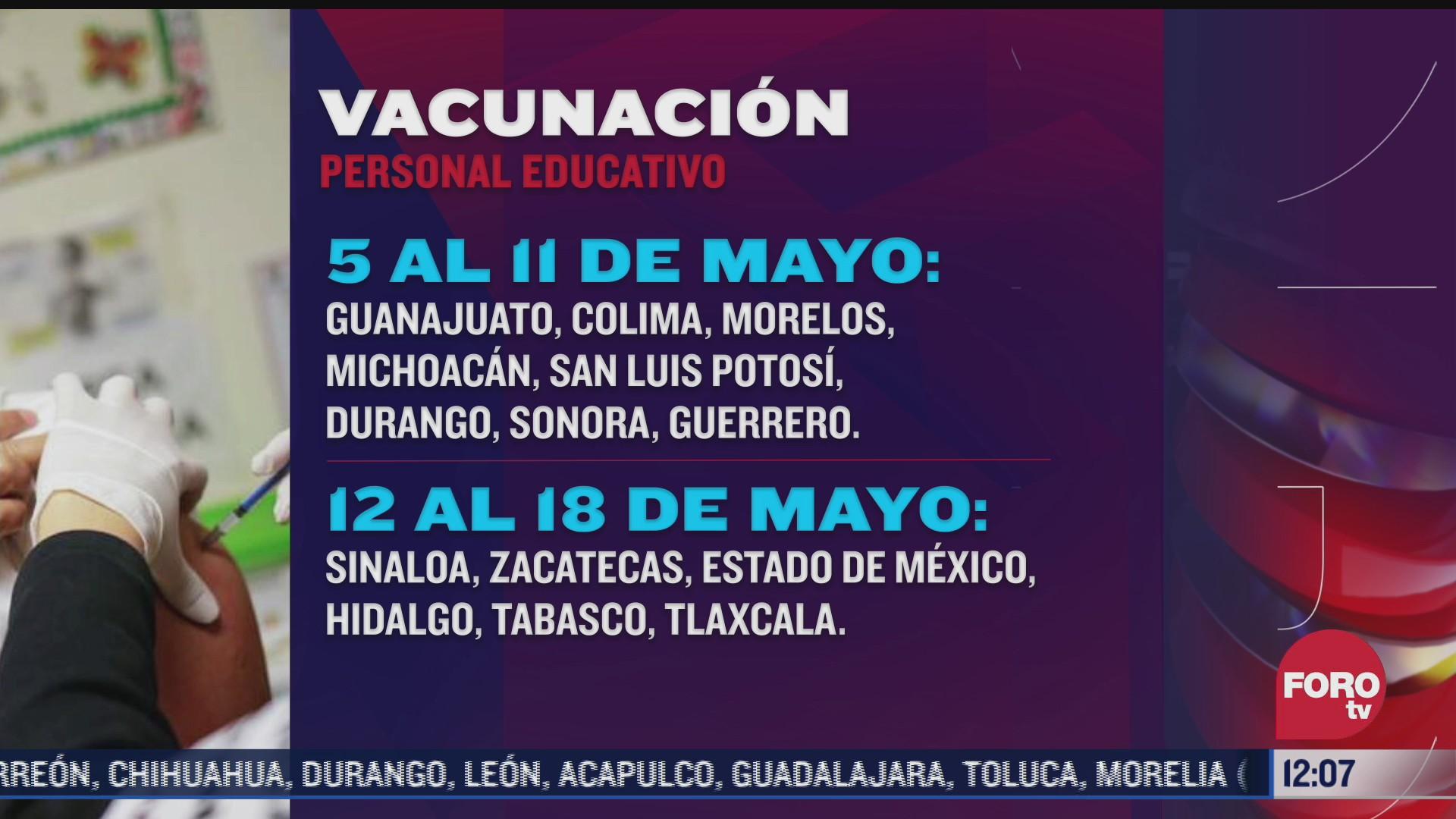 dan a conocer el calendario de vacunacion para personal educativo en mexico