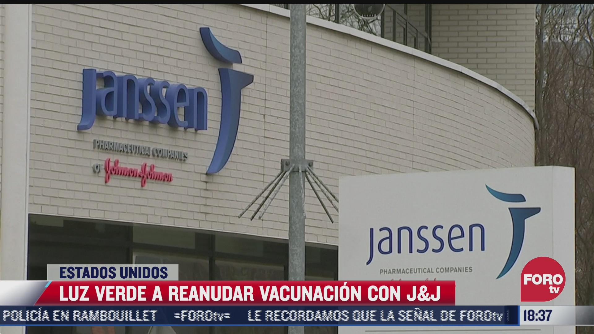 fda permite reanudar aplicacion de vacuna covid de johnson johnson en eeuu