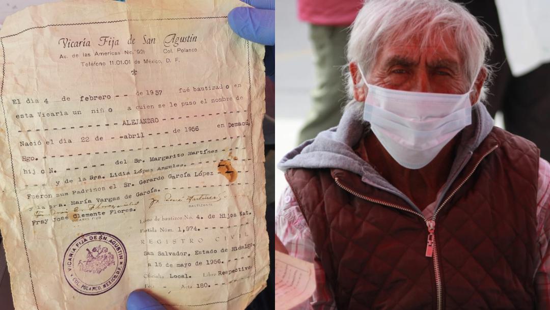 Hombre de 65 años da fe de bautismo para vacuna COVID-19