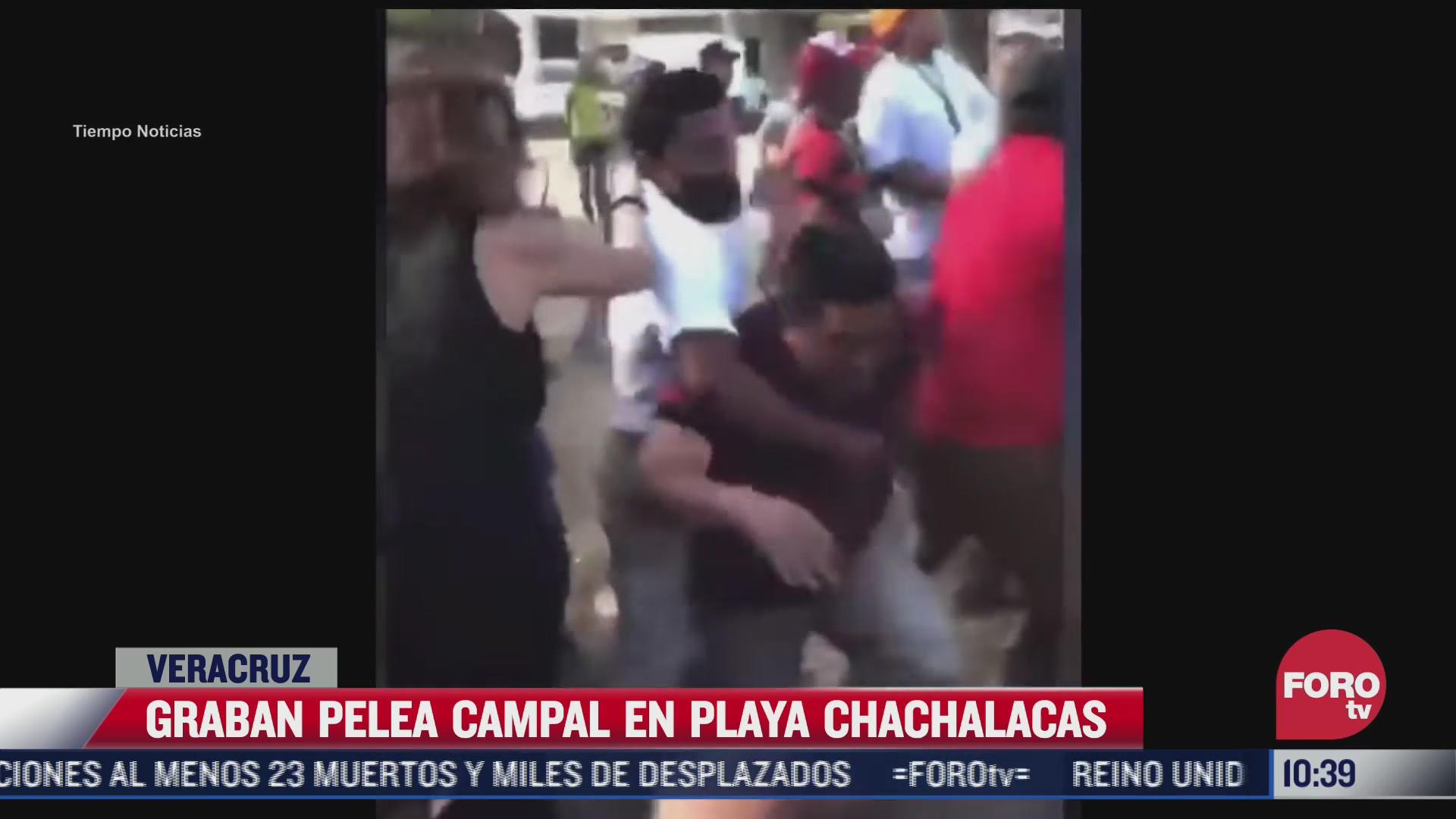 graban pelea campal en playa chachalacas veracruz
