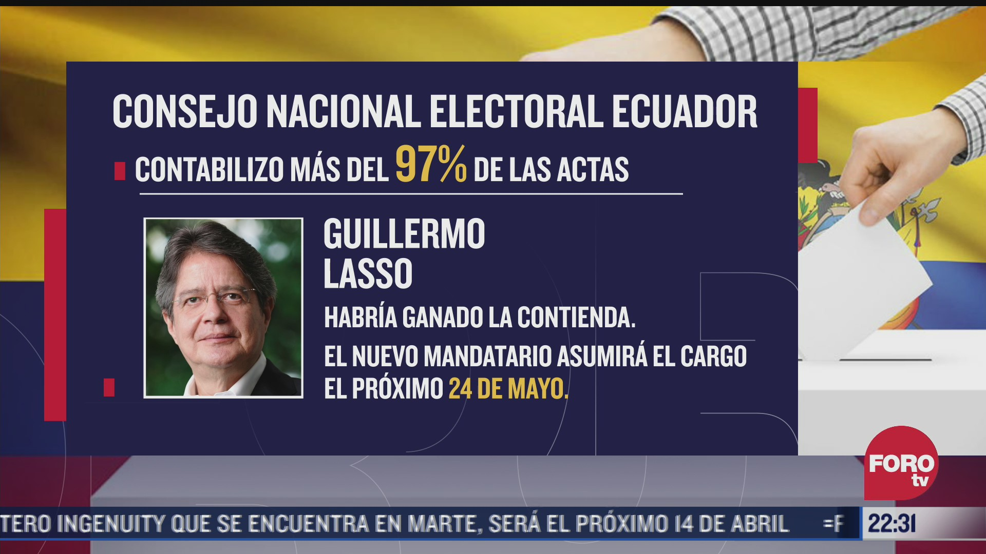 guillermo lasso encabeza eleccion presidencial en ecuador