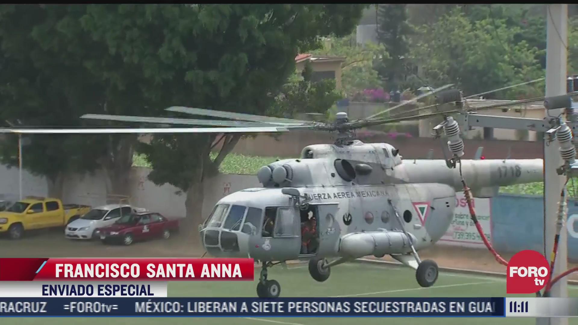 helicoptero de sedena realiza sobrevuelo en el tepozteco por incendio