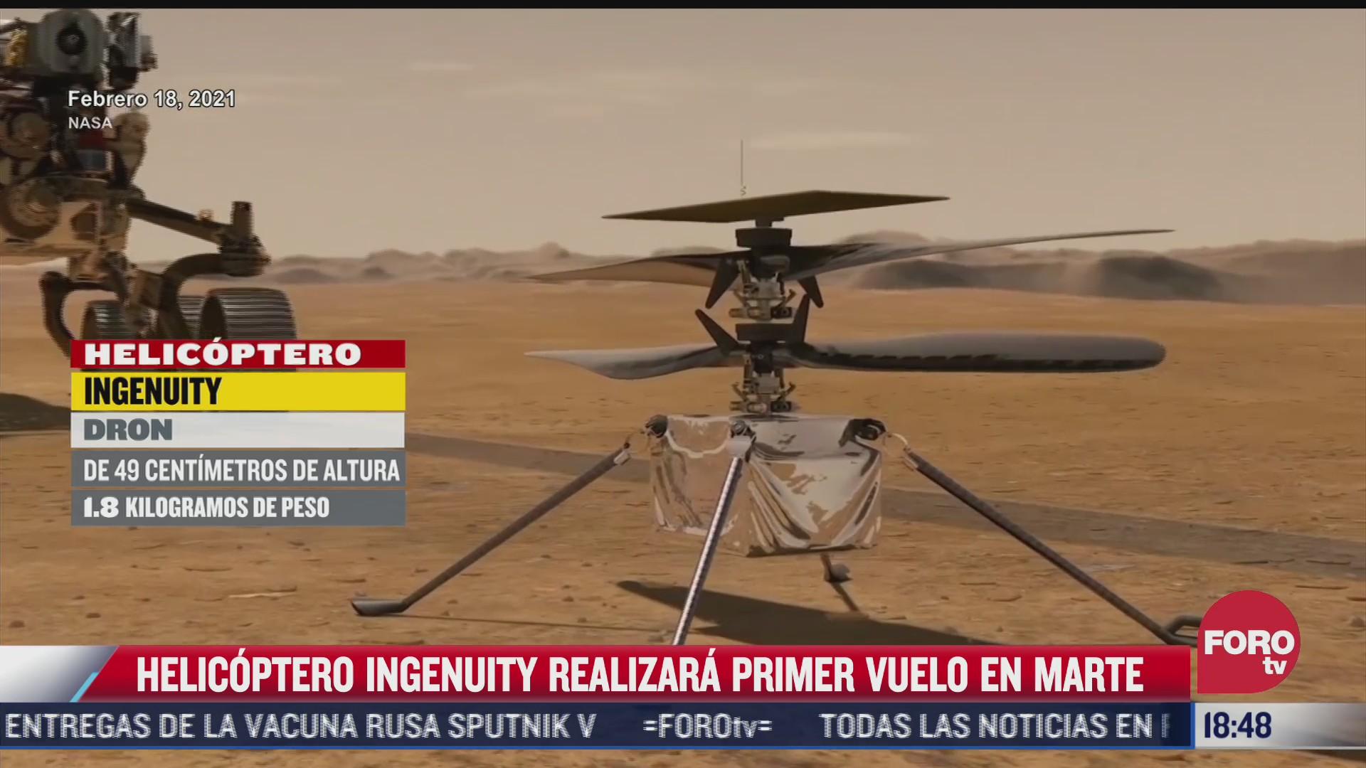 helicoptero ingenuity sera la primera aeronave en volar en el cielo de marte