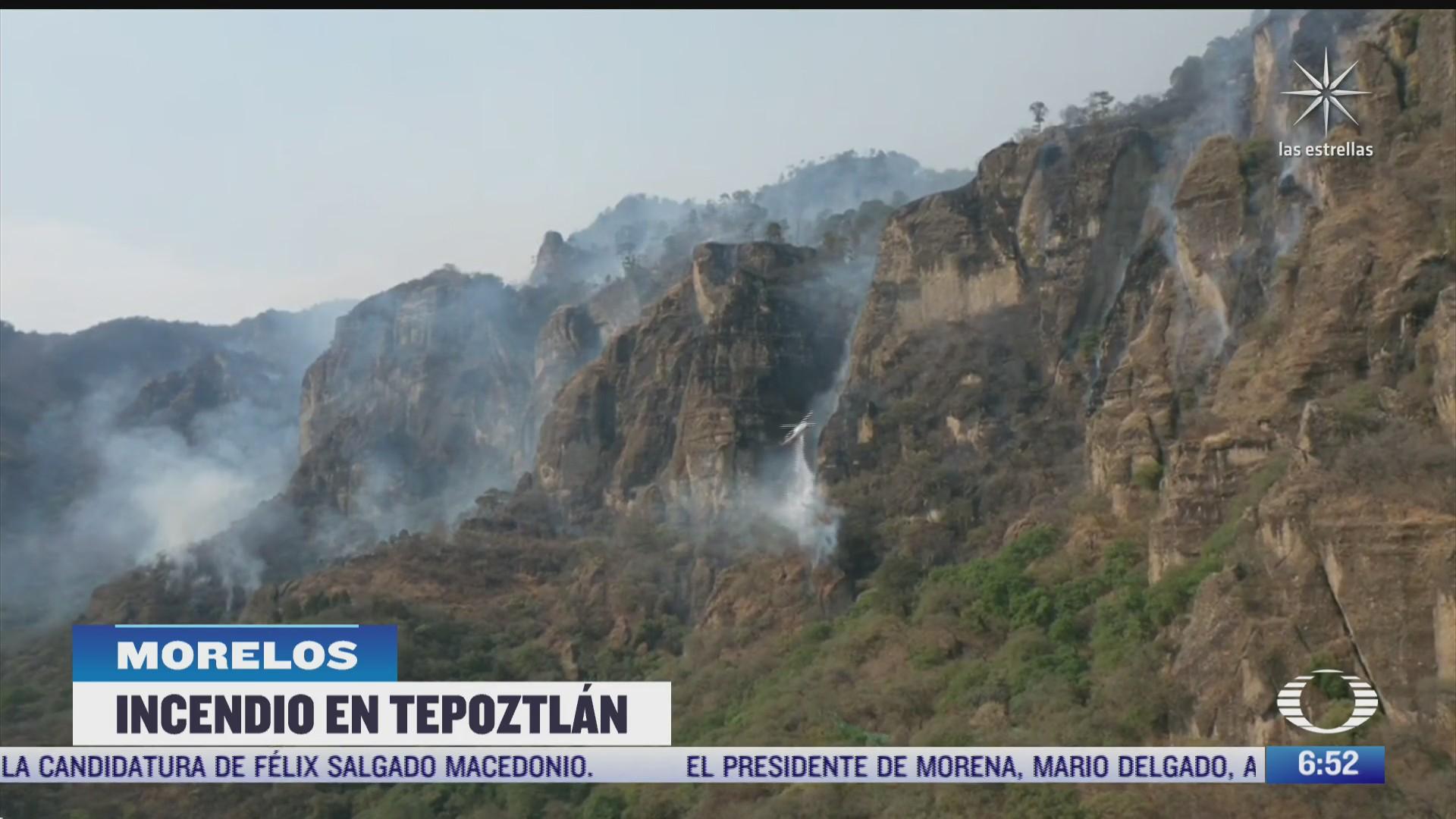 incendio forestal en tepoztlan lleva cuatro dias activo